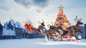 Christmas tree with colorful colorful balls. Santa Claus on a sleigh with Christmas reindeer. Snowmen and Christmas and