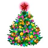 Christmas tree with colorful balls, star, toys and baubles isolated on white background. Sketch for greeting card. Festive poster or party invitations.The Royalty Free Stock Photography