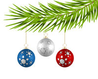 Christmas tree with colorful balls on a white background. Christmas tree with colorful balls on a white background Stock Photos