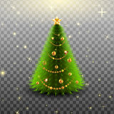 Christmas tree with colorful baubles and gold star on the top isolated Stock Photo