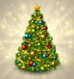 Christmas tree with colorful baubles and gold star on the top. Vector illustration. Glowing festive background with light beams and sparks Stock Images