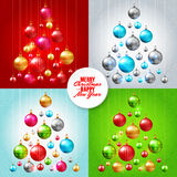 Christmas tree with colorful baubles Royalty Free Stock Photography