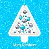 Christmas tree with colorful baubles Royalty Free Stock Images