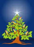 Christmas tree with colorful birds singing and white star on blue background Royalty Free Stock Photography
