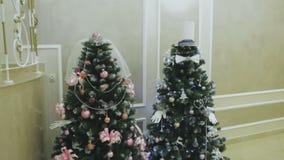 Christmas tree with Colorful bokeh and christmas lights stock video