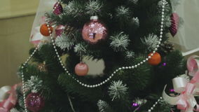 Christmas tree with Colorful bokeh and christmas lights stock video footage