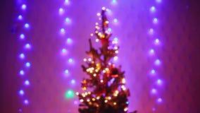 Christmas tree with Colorful bokeh and christmas lights. 1920x1080 stock footage