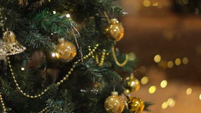 Christmas tree. With Colorful bokeh and christmas lights stock video footage