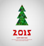 Christmas tree with colorful diamond, vector illustration. Christmas and 2015 New Year card Stock Photography