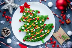 Christmas tree colorful festive salad. Top view Royalty Free Stock Image