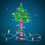 Christmas tree with colorful garland Stock Photography