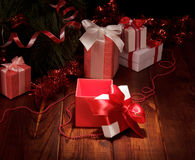 Christmas tree with colorful gifts Royalty Free Stock Photos