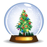Christmas tree. Colorful Christmas tree in glass globe Royalty Free Stock Images