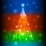 Christmas tree of colorful light for new year card,  background Royalty Free Stock Photos