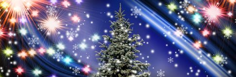 Christmas tree on colorful lights background royalty free stock photo