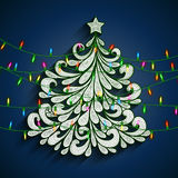 Christmas tree with colorful lights Royalty Free Stock Image