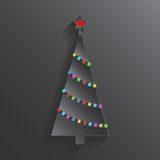 Christmas tree with colorful lights. Xmas and New Year card. Stock Photography