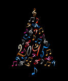 2015 christmas tree with colorful metal musical notes Stock Photos