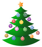 Christmas Tree with Colorful Ornaments Stock Images