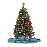 Christmas tree with colorful ornaments Royalty Free Stock Photos