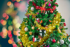 Christmas tree with colorful ornaments Royalty Free Stock Photography