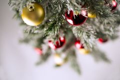 Christmas tree with colorful ornaments. On white royalty free stock images