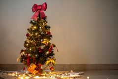 Christmas tree and colorful ornaments stock photo