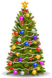 Christmas tree with colorful ornaments Stock Illustration