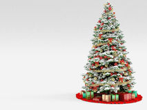 Christmas tree with colorful ornaments, isolated Stock Image