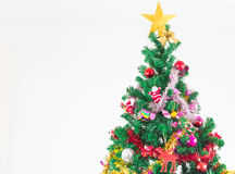 Christmas tree with colorful ornaments Stock Photo