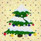 Christmas tree on colorful polka dot Royalty Free Stock Images