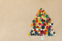 Christmas tree from colorful sewing buttons Stock Image