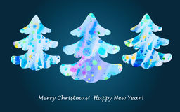 Christmas tree. Colorful watercolor abstract Christmas tree. Vector illustration Royalty Free Stock Photography