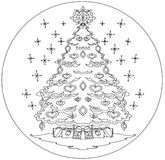 Christmas tree coloring mandala Royalty Free Stock Image