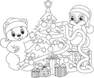 Christmas tree coloring page Stock Photos