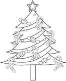 Christmas tree coloring page Stock Photos