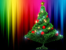 Christmas Tree and colour background. Christmas Tree and shining colour background Royalty Free Stock Image
