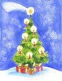 Christmas tree, comet and gift Stock Photography