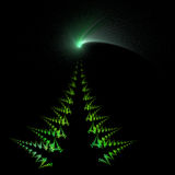 Christmas tree and comet star. Isolated on black background - Illustration created from a fractal Royalty Free Stock Image