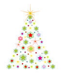 Christmas holiday tree with comet,vector. Colorful Christmas fir tree on white background, vector format royalty free illustration