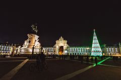 Christmas tree on Commerce square. At night in Lisbon, Portugal stock image