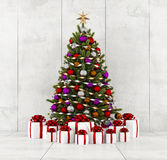 Christmas tree in a concrete room Stock Photography