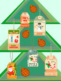 Christmas Tree with cones and Sale Tags. Christmas Tree with cones and Winter Sale Tags vector illustration