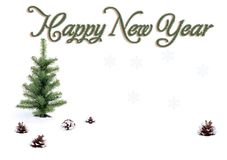 Happy New Year. Christmas tree and cones on the snow. Christmas tree and cones on the snow.. postcard royalty free stock photography