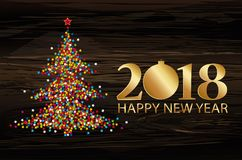 Christmas tree from confetti with golden figures 2018. New Year,. Christmas, winter theme. Vector. Greeting on holiday on a wooden background Stock Image