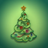 Christmas tree conifer decoration quilling. Christmas coniferous tree ornate greeting card made of paper stripes Stock Photos