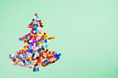 Christmas tree of construction toys royalty free stock photos