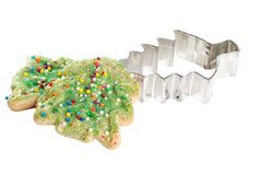Christmas tree cookie with cutter Royalty Free Stock Images