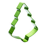 Christmas Tree cookie cutter isolated on white background. Green Stock Image