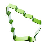 Christmas Tree cookie cutter isolated on white background. Green Stock Images